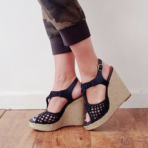LUCKY BRAND Navy Crochet Wedge Sandals Size 9 1/2